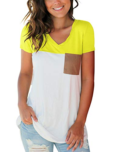 Women Tees Short Sleeve Tops Plus Size Clothing Lightweight Yellow -