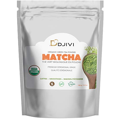 Dodjivi Matcha Green Tea Powder, Premium Grade 100g USDA & Vegan Certified Matcha Tea – No Whisk, Easy to Mix 100% Organic Matcha, Powerful Antioxidant Drink – For, Baking, Shakes, Lattes, Smoothies