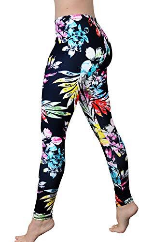 Comfy Yoga Pants - Soft Milk Silk Workout Leggings for Women - Fun Lightweight Printed Yoga Leggings (Rainbow Flowers, US 0-12) ()