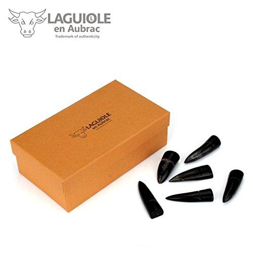 Laguiole en Aubrac PORTE6BU - 6 Edle Messerbänkchen aus dunkler Büffelhornspitze