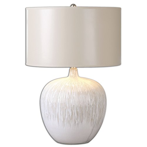 One Light Distressed Aged Ivory Glaze Table Lamp -