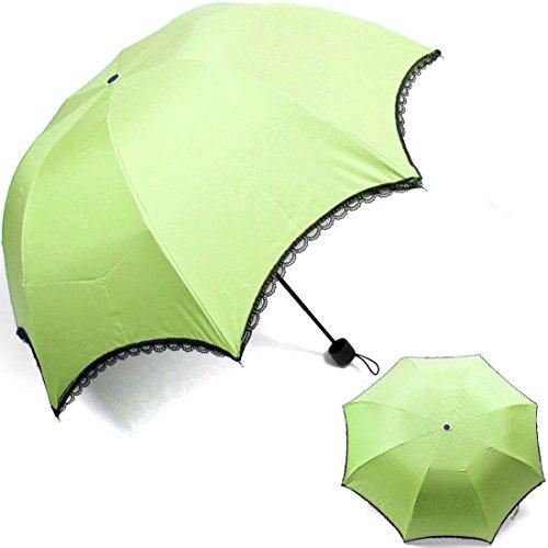 kilofly Arched Folding Parasol Umbrella with Black Lace Trimming, UPF 40+, Aqua Green
