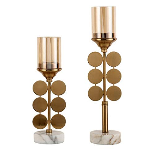 (ZHAO YING Metal Crystal Glass Candlestick Retro Alloy Candle Holder Living Room Dining Table Home Decoration Wedding Candlestick (Color : Brass))