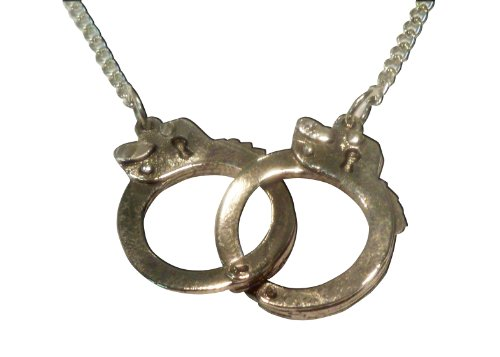 - Real Metal Linked Double Handcuffs Pewter Pendant Necklace Fashion Jewelry