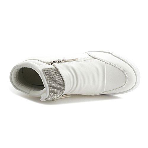 Hoge Top Wedge Platform Dames Sneakers Cz Rits Verborgen Hiel Casual Sportschoenen Wit