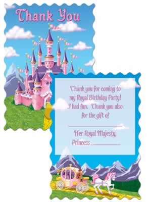 Princess Party Thank You Notes (envelopes included) Party Accessory  (1 count) (8/Pkg)