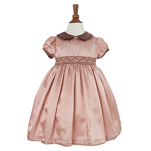 Girl's Hand Smocked Holiday Dress - Old Rose Faux Silk, (Silk Bubble Dress)