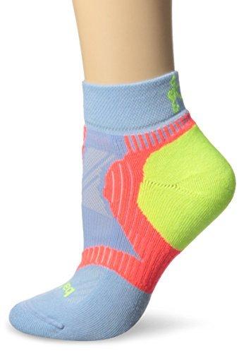 Balega Womens Enduro V-Tech Low Cut Socks (1 Pair) (2017 Model), Cool Blue/Coral/Neon Yellow, Large