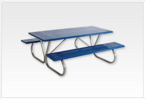 Sports Play 602-635 Standard Rectangular Picnic Table 2 3/8-6 Rolled Edge Perforated Steel - Edge Perforated Picnic Table