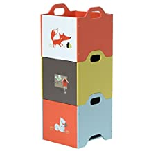 Labebe Wooden Toy Storage Bin, 3-color Combined Stackable Fox Toy Bin, Closed Door Baby Toy Chest with 3-layer for Baby, Kid Storage Bin/Kid Storage Box/Kid Storage Container/Kid Chest/Kid Trunk