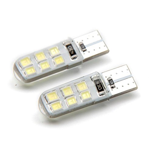 Alonea 2Pcs T10 W5W Waterproof 2835 12 SMD Wedge License Plate side turn signal light (White)