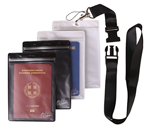 Rocclo Traveler Waterproof Passport Holder One Black Lanyard with 4 Zip Lock PVC Double-Side
