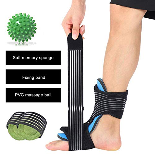 (Plantar Fasciitis Night Splint Foot Orthotic Supports Kits - Adjustable Elastic Strap Plantar Fasciitis Braces + Spiky Massage Ball + Arch Supports (2 PCS) for Relieve Planter Fascitis Pain, Foot)