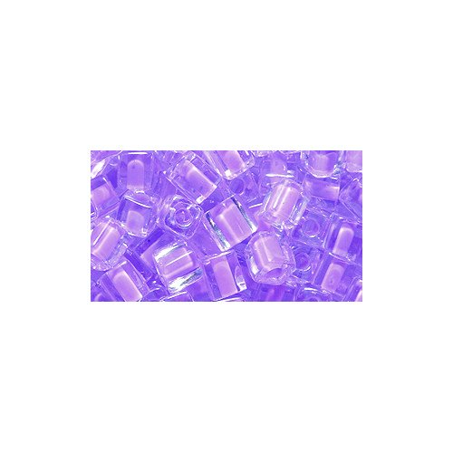 Miyuki Seed Cube Bead SB4-222, 4 by 4mm, Colorlined Violet, 25-Gram/Pack