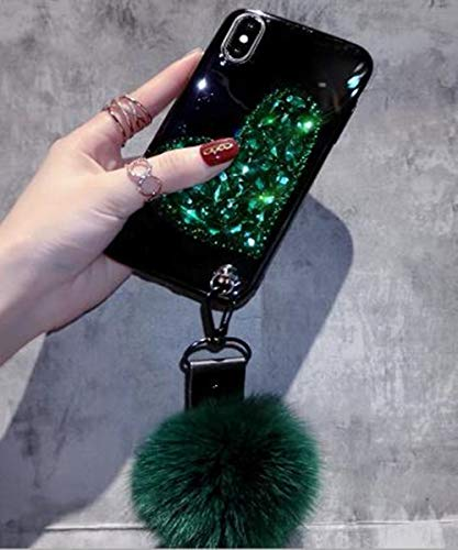 iPhone Xs Max Bling Fur Ball Case,Aulzaju iPhone Xs Max Luxury Shiny Shockproof Shell Design Case Love Heart Soft TPU Strip Cover for iPhone Xs Max for Girls Women-Black - Strip Ball