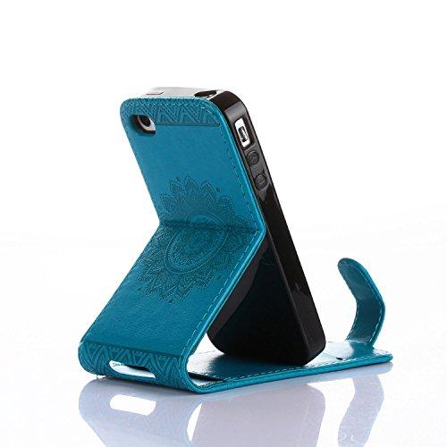 Für Apple iPhone 4 4G 4S (3,5 Zoll) Tasche ZeWoo® Ledertasche Kunstleder Brieftasche Hülle PU Leder Schutzhülle Case Cover - GH016 / blau