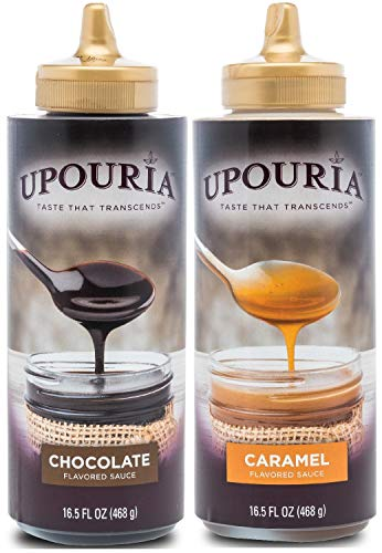 Upouria Coffee Topping Variety Pack - 16.5 Ounce Bottles, Chocolate and Caramel Sauce For Coffee - (Pack of 2)