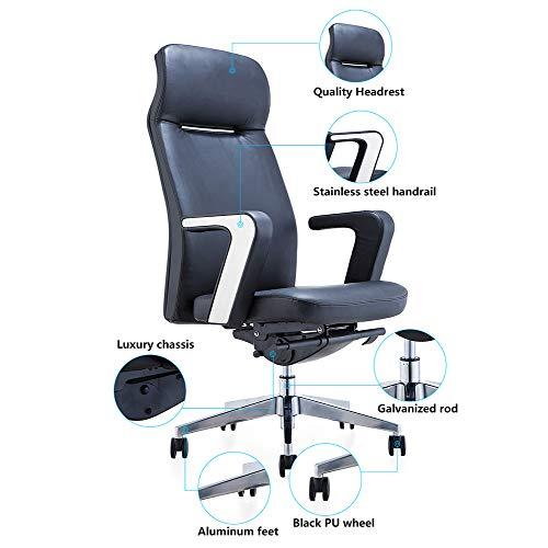 Bling hög rygg kontorsstol PU-läder verkställande skrivbordsstol med vadderade armstöd, justerbar ergonomisk svängbar uppgift stol med ländrygg