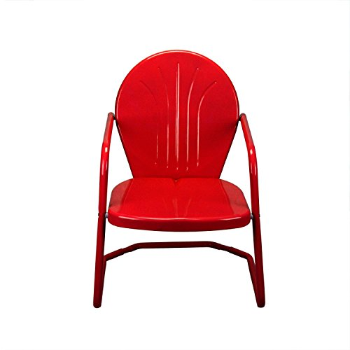 "LB International 34"" Vibrant Red Retro Metal Outdoor Tulip Chair"