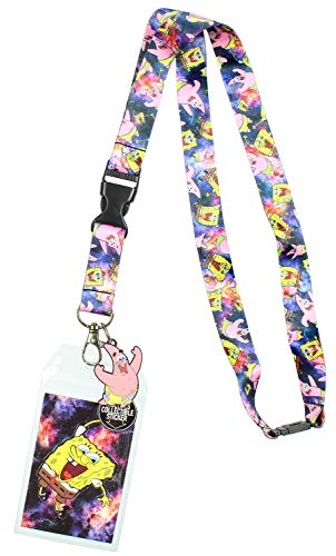 Spongebob Squarepants ID Lanyard with Detachable Badge Holder, Patrick Charm, and Collectible Sticker (Spongebob And Patrick Best Friend Rings)