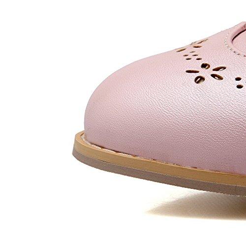 AllhqFashion Damen Schnalle Mittler Absatz Pu Leder Rein Rund Zehe Pumps Schuhe Pink