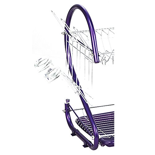 Dish Drying Rack - TOOGOO(R) Stainless Steel 2 Tiers Kitchen Dish Cup Drying Rack Drainer (Color:purple)