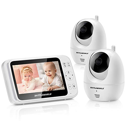 Baby Monitor with 2 Cameras and 5″ LCD,Screen Split,Night Vision,Two-Way Talk,Remote Pan,Tilt,Zoom,Temperature Monitor,1000ft Range Stable Transmission,Saving/VOX Mode,Support up to 4 cams