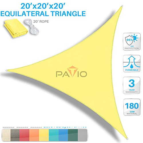 (Patio Paradise 20' x 20' x 20' Canary Yellow Sun Shade Sail Equilateral Triangle Canopy - Permeable UV Block Fabric Durable Outdoor - Customized Available )