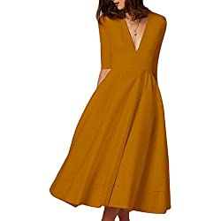 Women's Elegant Half Sleeve Deep V Neck Vintage Cocktail A-line Midi Dress Bronze S