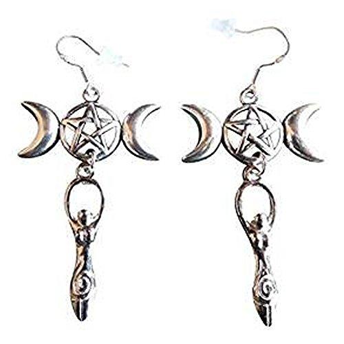 ed Triple Moon and Goddess Earrings ()