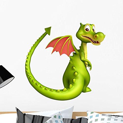 Wallmonkeys Cute Dragon Funny Cartoon Wall Decal Peel and Stick Vinyl Graphic (24 in H x 24 in W) WM368311