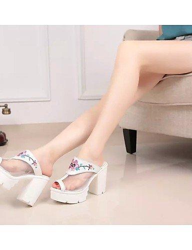 Damen Plateau Büro Leder Sandalen Komfort Damenschuhe Zehenfrei Absatz Kleid Blau amp; Party ShangYi Niedriger Festivität für Sandaletten Hochzeit White EwPpBcWZqH