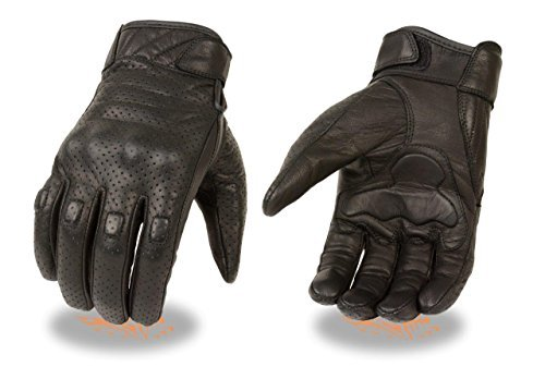 Men's Lightweight Perforated Motorcycle Glove w/ Rubberized Knuckle Protection (Medium)