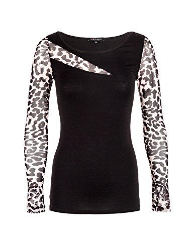 Morgan TCOUP-Camiseta Mujer Écru (Nude/Léopard)