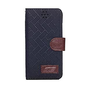 FJM Apple Plaid Pattern PU Leather Hard Cover for iPhone 6 (Assorted Colors) , Black