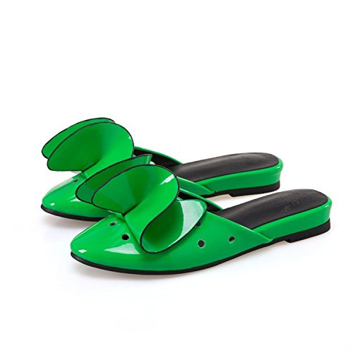 Sandals New days Large Shoes 4 Leather Dimensional 2 Three Size custom Women's not Flat Slippers do XDGG green Patent return 40 Summer Flowers FXxPnHp
