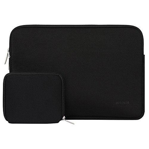 MOSISO Laptop Sleeve Bag Compatible 15 Inch MacBook Pro Touch Bar A1990 A1707 2018 2017 2016, 14 Inch ThinkPad Chromebook, Water Repellent Lycra Tablet Cover with Small Case, Black