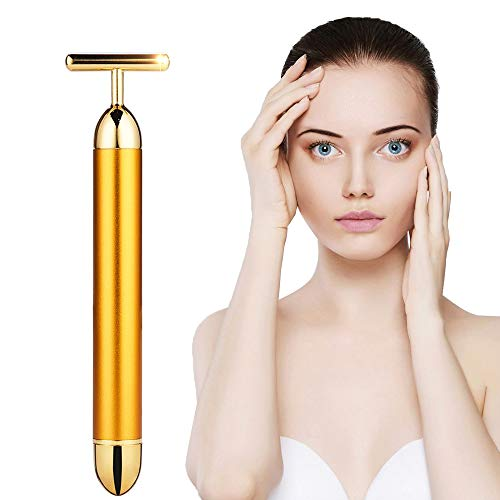24k Golden Beauty Bar,Electronic Facial Roller Waterproof Micro Vibrating Massager for Face Lifting,Anti-Aging Machine-Slimming Cheeks Skin Tightening Anti Wrinkle (24K T-Shape bar) (24K T-Shape bar)