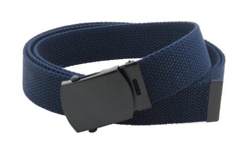 Navy Canvas Belt (Canvas Web Belt Military Style with Black Buckle and Tip 56