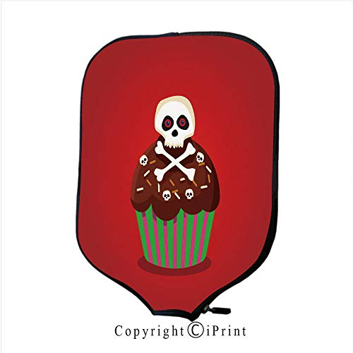 (Neoprene Sports Pickleball Paddle Cover Sleeve,Cute Happy Halloween Cupcake with Spider and Monster ey(Size:8.23
