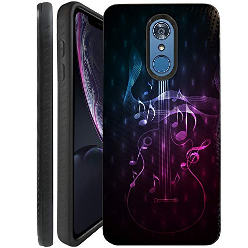 CasesOnDeck Case Compatible with [LG Stylo 4   LG Stylo 4+] Stylo 4 Plus Case, Dual Layer Hybrid Combat Shock Shell Embossed Strip Case Cover (Guitar Music)
