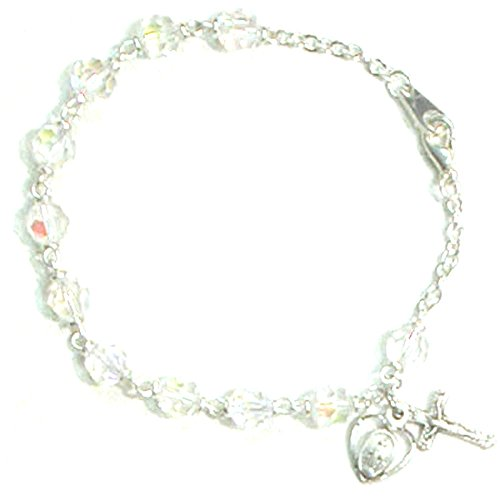 Women's Clear Crystal Cross and Miraculous Medal Rosary Bracelet, 7 1/2