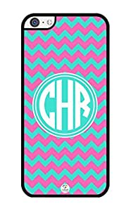 iZERCASE Monogram Personalized Pink and Turquoise Chevron Pattern iPhone 5C Case - Fits iPhone 5C T-Mobile, AT&T, Sprint, Verizon and International (Black)