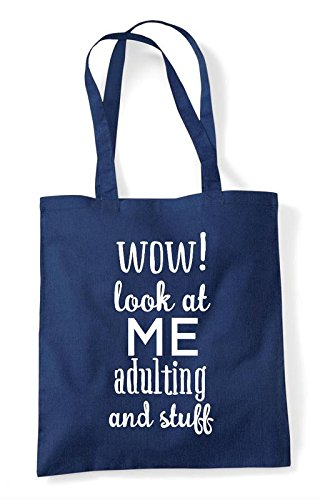 At Statement Me Wow Adulating And Stuff Navy Shopper Tote Look Bag Funny 510q0xRw