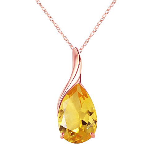 - 14k Solid Rose Gold Necklace with Pear-shaped Natural 5 carats Citrine 1627R (20)