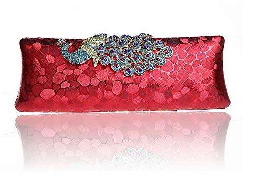 He Red Noche Hombro De Y Banquete Bolso Americano Estilo Lentejuelas Europeo shop Colores Colgado Real Diamante Embrague Pavo Mano rqUr4