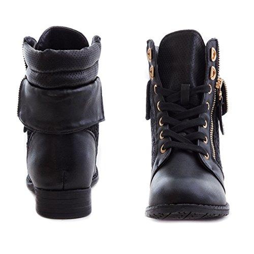 Stylische Damen Stiefeletten Worker Boots Spitze in hochwertiger Lederoptik Schwarz FB