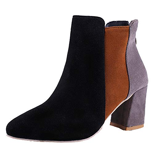 Holywin Womens Pointed Toe Suede High Heel Shoes Mixed Color Martin Boots Zipper Boot Black