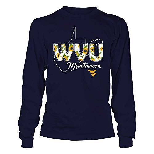 (FanPrint Official Sports Apparel Unisex Long Sleeve Cotton T-Shirt West Virginia Mountaineers Sunflower Patterned Letters - State Outline, Size 2XL, Navy)