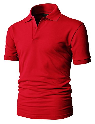 H2H Mens Casual Basic Pique Polo Shirts Short Sleeve of Various Colors RED US XS/Asia S - Us Shopping India Online To